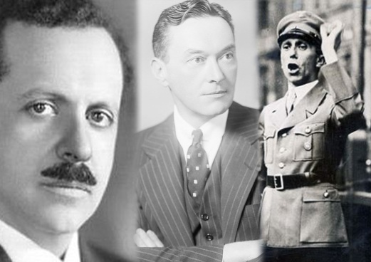 Edward Bernays (left), Walter Lippmann (middle) and Joseph Goebbells (right)